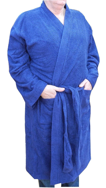 Mens Kingsize Big Size Terry Towelling Cotton Dressing Gown Bath Robe Blue Size 3XL 4XL 5XL 6XL 7XL 8XL Espionage