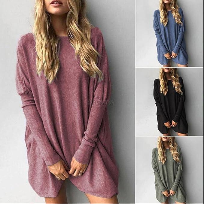 Minetom Mujeres Jersey Mini Vestido Dress Su/éter De Punto Cuello O Moda Pullover Sweater Jumper Camisa Larga Suelto Oto/ño Invierno Tops