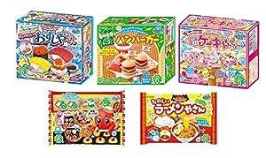 Kracie Popin Cookin 5 Item Bundle with Sushi, Hamburger, Oekaki Gummy Land, Takoyaki, Choco Crone