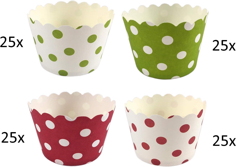 Dessert 2 Designs a 25 St/ück EIS Cupcake 50 Pappf/örmchen Muffin 2 x 25 Sterne
