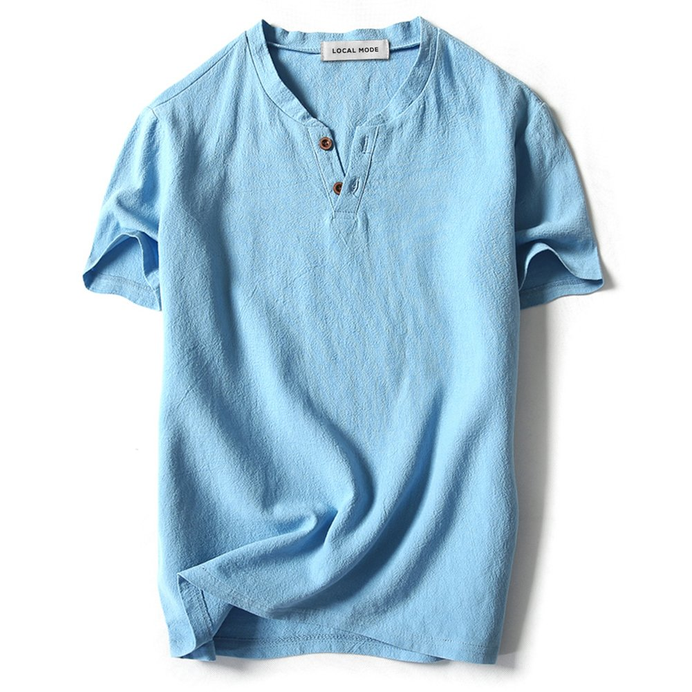 563b0af8a LOCALMODE Men Linen and Cotton V Neck Short Sleeve T Shirts Casual Tee Sky  Blue XL
