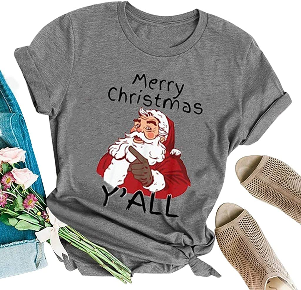 Casual Christmas Santa Tree Cute Funny Cartoon Letter Printed Short Sleeve Tee Tops Futemo Christmas T Shirt for Women
