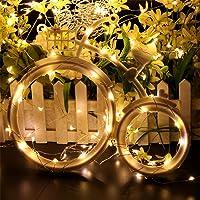 MOTOULAX Luces LED de Cadena Solar, Luces LED Solares de 3M, Luces de Alambre a Prueba de Agua de Cobre DIY para Decoraciones al Aire Libre, Patio, árboles, Navidad, Bodas, Decoraciones para Fiestas