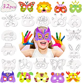 32 Pcs Animal Masks for Kids,DIY Blank Graffiti Masks Party Favors Masks for Parties/Halloween/Cosplay/Kids' Hand Painting Art Crafts,Best kids coloring masks,32 Designs
