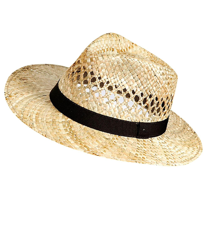 EveryHead Modischer Fiebig Hut Strohhut Sommerhut Damenhut Damenstrohhut Traveller Cowboyhut Panamahut Uni mit Ripsband (FI-16518-S16-DA1) inkl Hutfibel