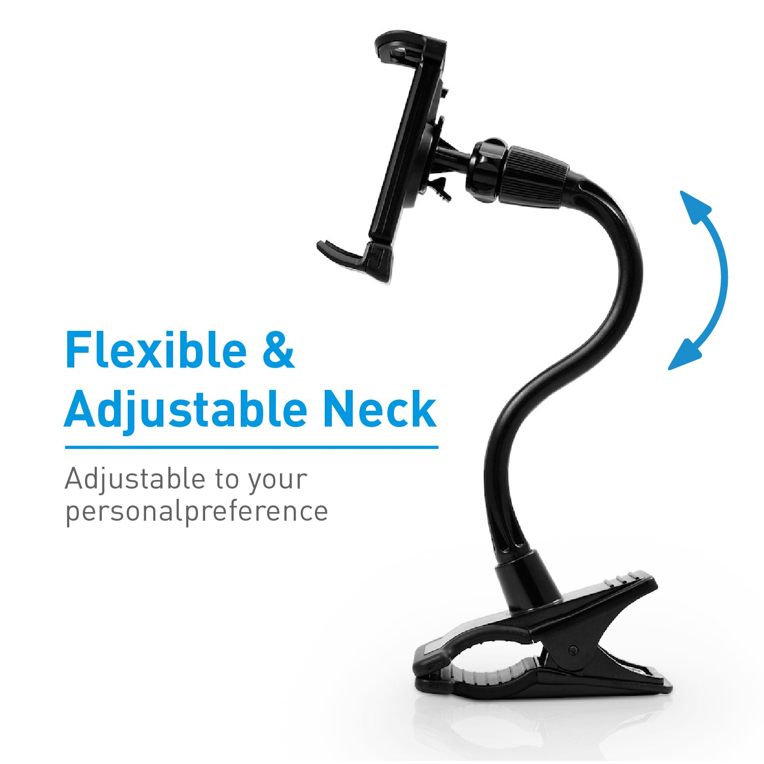 Macally Flexible and Adjustable Gooseneck Clip On Desk or Kitchen Table Holder Clamp Mount for iPad Air / Mini, Tablets, iPhone XS XS Max XR X 8 Plus, Moto Smartphones, & Nintendo Switch (ClipMount) by Macally (Image #3)