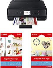 "Canon PIXMA TS5020, Black, with Photo Paper MG-101 4"" x 6"" and RP-101 4"" x 6"" Restickable Bundle"
