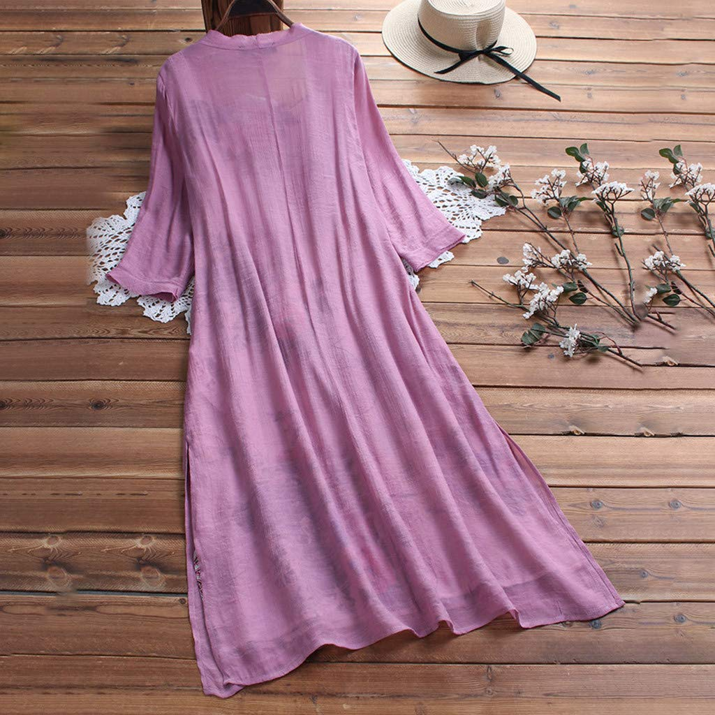 Lloopyting Women's Loose Plain Casual Large-Scale Dress Chiffon Sleeve Ruched Soft Fitted Summer T Shirts Long Dress Pink by Lloopyting (Image #2)