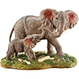 Collections Etc Mother and Baby Elephant Figurine with Hand Painted Details for Tabletop, Animal Home Décor