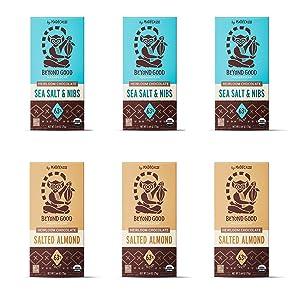Beyond Good Chocolate 6 Bar Bundle | 3 Sea Salt and Nibs + 3 Salted Almond Dark Chocolate Bars | Organic, Direct Trade, Vegan, Kosher, Non-GMO | Single Origin Madagascar Heirloom Chocolate