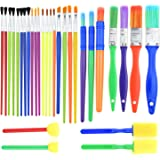 BTNOW 30 Pieces Kids Paint Brushes Colorful Artist Paint Brush Set Assorted Sizes for Watercolor, Oil, Acrylic & Tempra Paints and More