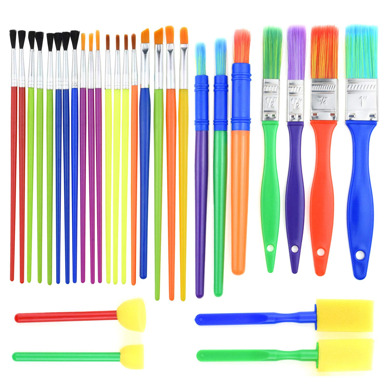 BTNOW 30 Pieces Kids Paint Brushes Colorful Artist Paint Brush Set Assorted Sizes Watercolor, Oil, Acrylic & Tempra Paints More 4336960884