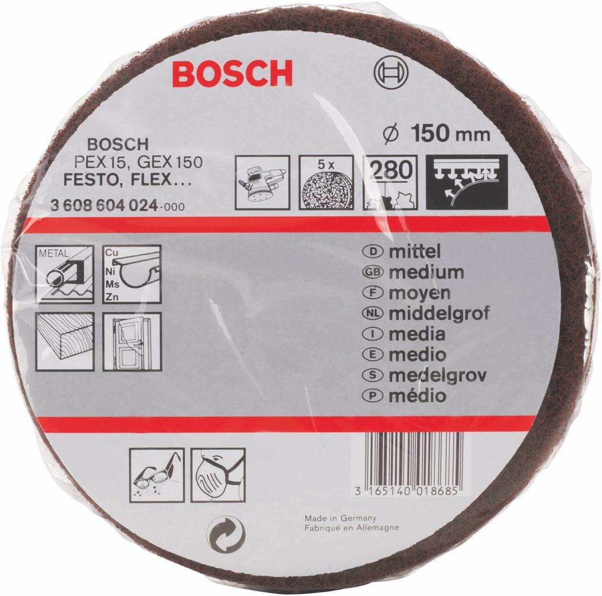 Korund 150 mm Vell/ón de lijado 280 pack de 5 mittel Bosch 3 608 604 024