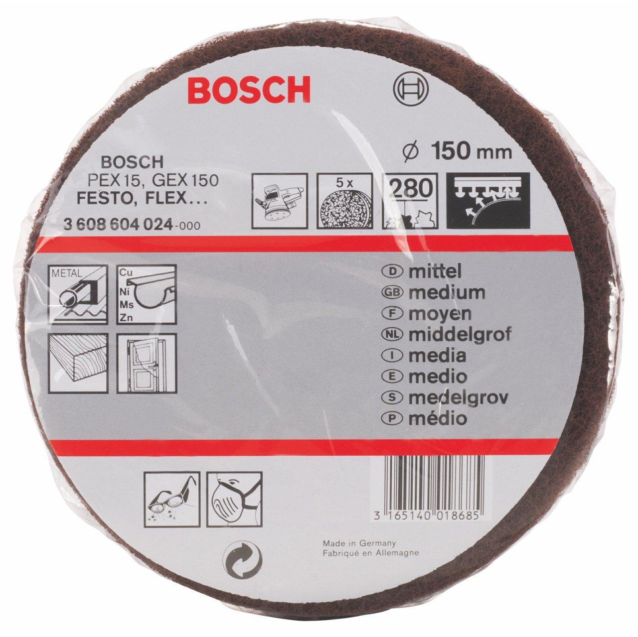 Bosch 3 608 604 024 Disque é ponge abrasif Diamè tre 150 mm / Grain 280 Bosch Professional 3608604024