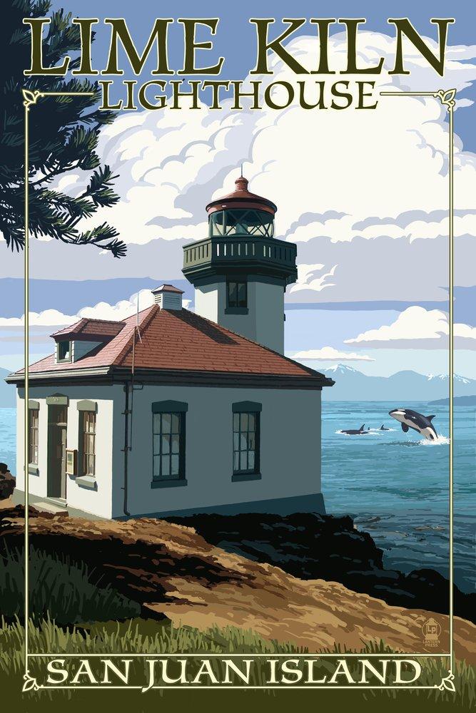 San Juan島、ワシントン – ライムKiln灯台日シーン 36 x 54 Giclee Print LANT-54992-36x54 36 x 54 Giclee Print  B017E9X2RM