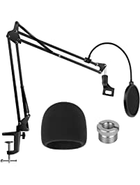 InnoGear Heavy Duty Microphone Stand with Microphone Windscreen and Dual Layered Mic Pop Filter Suspension Boom Scissor...