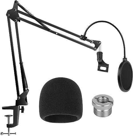 InnoGear Mikrofonst/änder verstellbar Aufh/ängung Galgen Scherenarm St/änder mit 0,95 cm bis 1,6 cm Schraube Adapter Shock Mount Windschutzscheibe Pop Filter Mic Clip Halter Kabelbinder f/ür Mikrofone