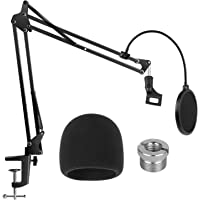 InnoGear Heavy Duty Microphone Stand with Mic Microphone Windscreen and Dual Layered Mic Pop Filter Suspension Boom…