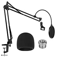 InnoGear Heavy Duty Microphone Stand with Microphone Windscreen and Dual Layered Mic Pop Filter Suspension Boom Scissor Arm Stands for Blue Yeti, Spark, Yeti x and Yeti Nano