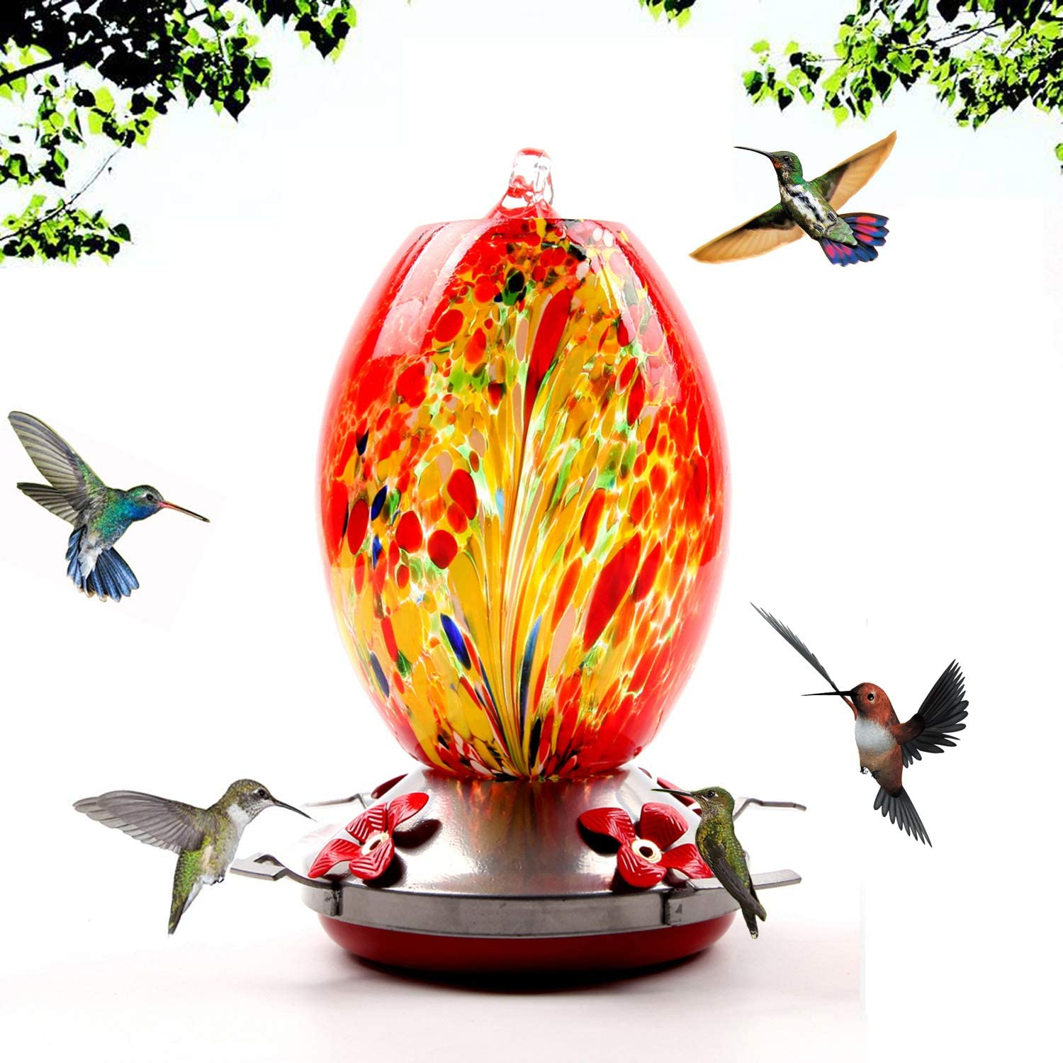 Garden Hummingbird Feeder with Perch - Hand Blown Glass - Blue - 25 Fluid Ounces Hummingbird Nectar Capacity Include Hanging Wires and Moat Hook (Red Phoenix)