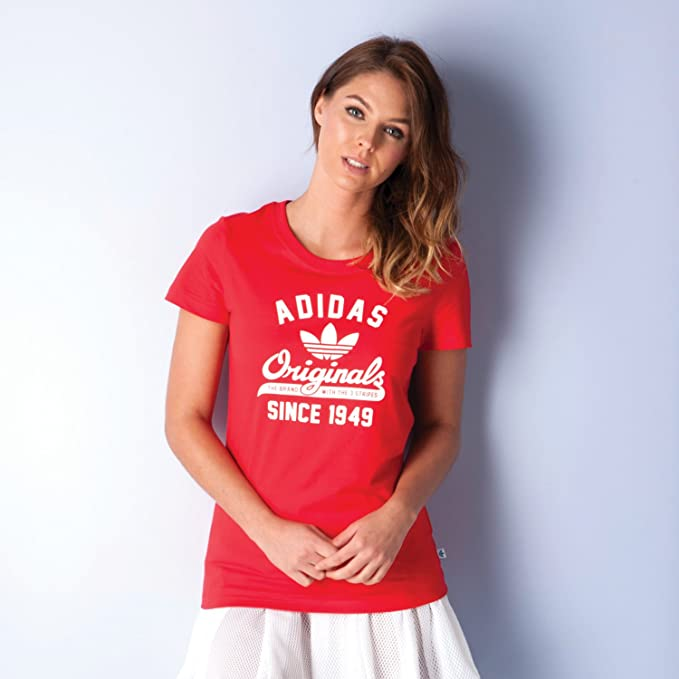 adidas Originals Camiseta - para Mujer Rojo 12: Amazon.es: Ropa y accesorios