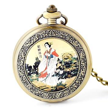 Esmalte Hueco Esqueleto Automático Reloj De Bolsillo Mecánico Reloj De Cadena Suéter,Bronze: Amazon.es: Hogar