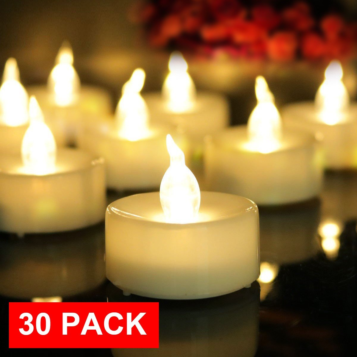 AMAGIC Pack of 30 Electric Battery Operated Tea Lights Bulk -Realistic Flameless Tealight Candles Natural Warm White Light, Quality Fake Led Tealight Candles Holiday, Wedding, Party-No Remote by AMAGIC