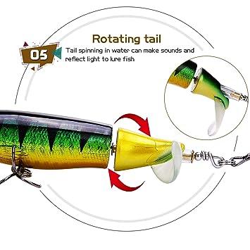 Sougayilang Fishing Lure Whopper Plopper mit Schwimmendem Topwater Bait S/ü/ßwasser-Salzwasser lockt den Karpfenbarsch