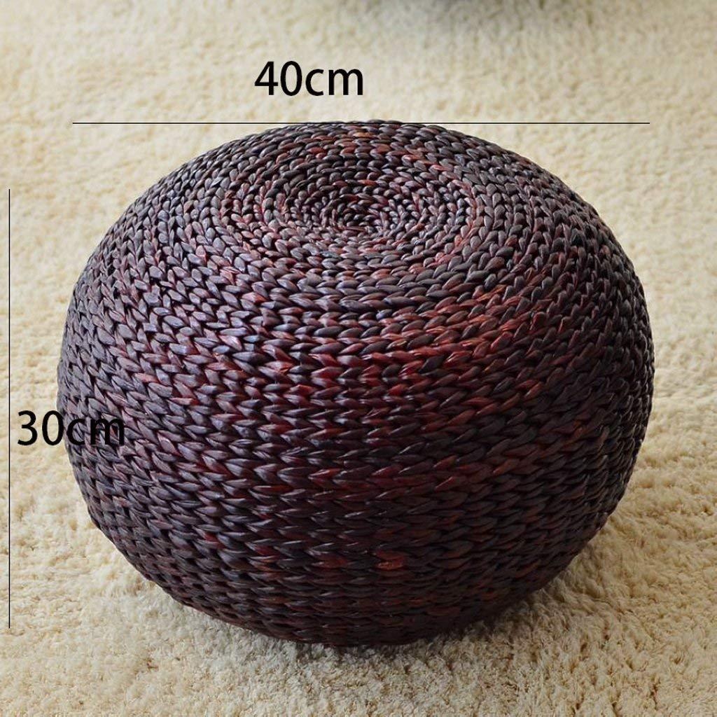 WHKFD Home Sgabello in Rattan Sgabello Grande per Il Tempo Libero Sgabello Panchina Colore Primario, H30Cm * L40Cm,Marrone Chiaro