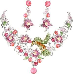 EVER FAITH Hummingbird Flower Leaf Necklace Earrings Set Austrian Crystal