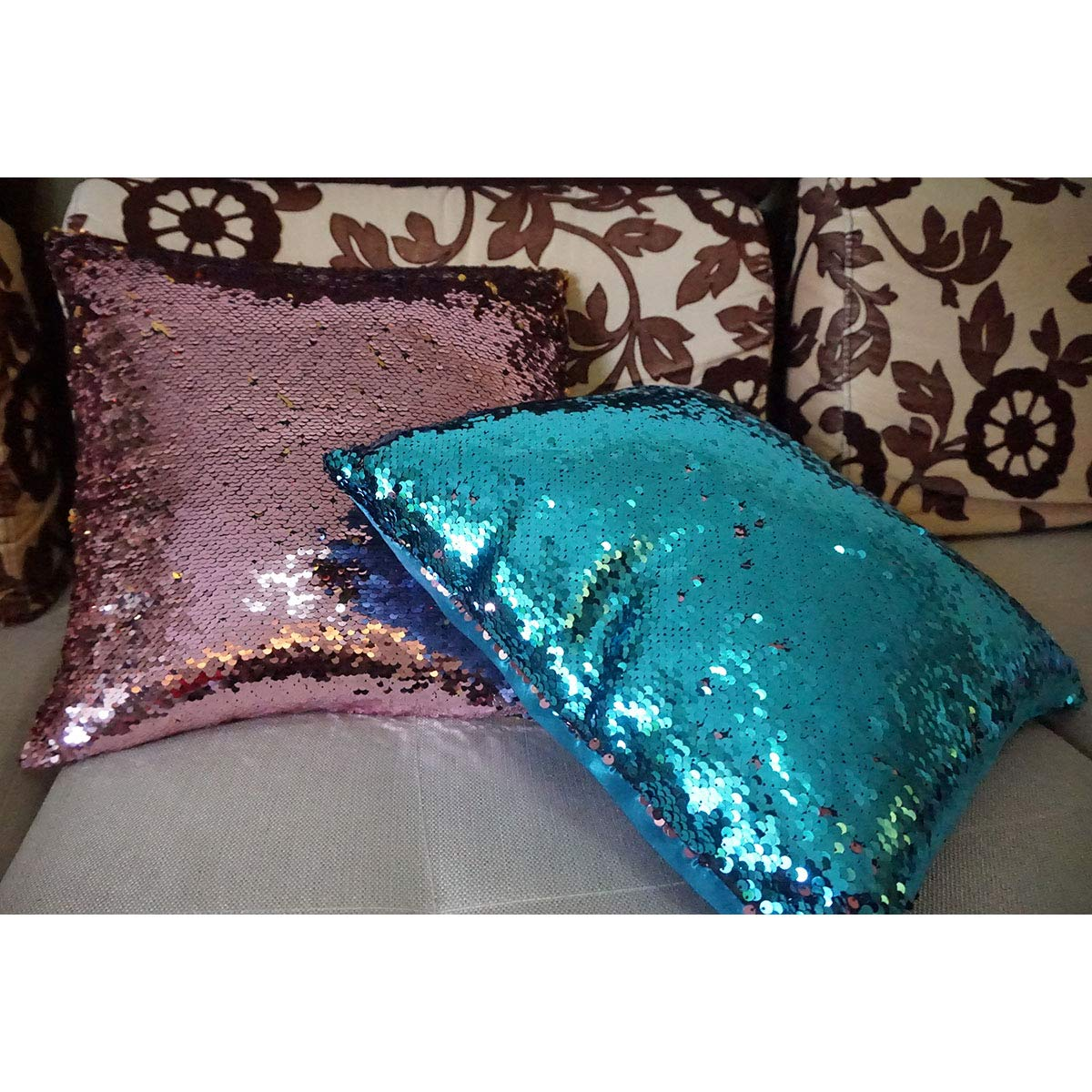 TRVIVOM Bling-Bling Two Sided Magic Sequins DIY Decorative Throw Pillow Cover 1616 Red /& Black