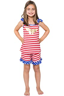 DC Comics Girls Wonder Woman USA Ruffle Pajama Short Set
