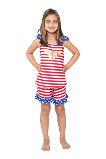 1480c9b1d1110 DC Comics Girls' Wonder Woman USA Ruffle Pajama Short Set