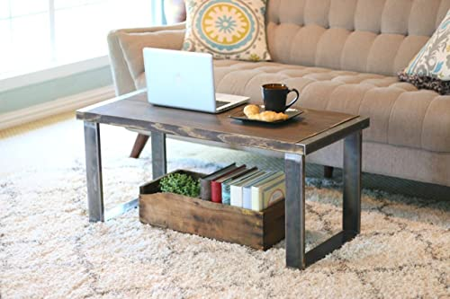 Amazon Com Industrial Square Leg Stained Coffee Table Handmade