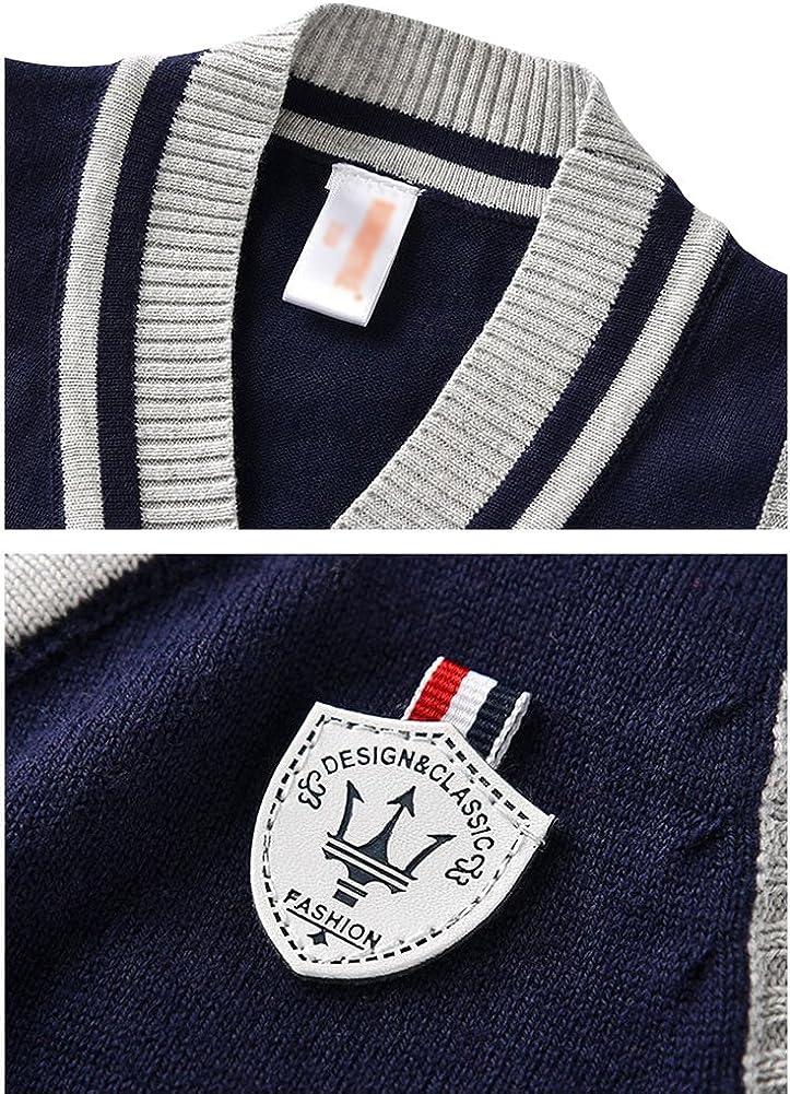 Little Boys Gentleman Sleeveless Gentlemen Sweater Vest V Neck Stylish Cardigan Waist Coat Blue//Navy//Gray