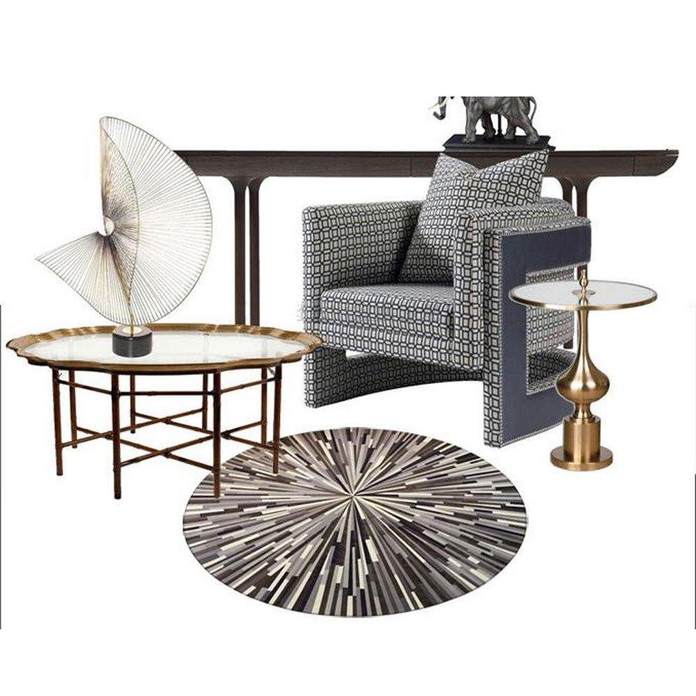 Black Round Carpet Laser Abstract Pattern Living Room Study American trends Bedroom Mats Baby Pet Crawl Mat /φ80cm