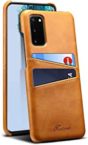 Samsung Galaxy S20 Cover Case Leather Back Case Ultra-thin Fashion Business Stylish Card Holder Wallet Slim Cover Unique Shell Anti Fall Shockproof Cover Protective Sleeve Brown