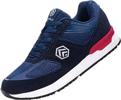 Fenlern Zapatillas de Seguridad Hombre S1 SRC Ligeras Zapatos de Trabajo Punta de Acero Calzado de Seguridad Antideslizante