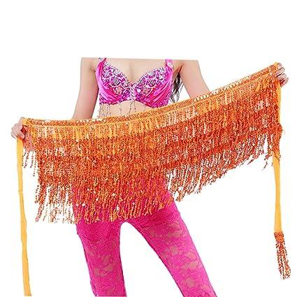 0bd42a19 geshiintel Belly Dance Dancer Costume Sequins Tassels Fringes Hip Scarf Belt  Waist Skirt - Orange