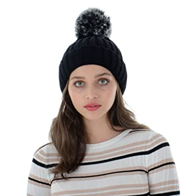 acdb383d047 Autumn Faith Womens Black Chunky Knitted Beanie Hat with Faux Fur Pom Pom  Bobble Ladies Ribbed Knit Winter Accessory (One Size)  Amazon.co.uk   Clothing