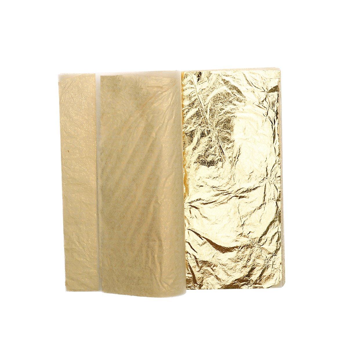 100 pcs Gold Foil Paper Gold Sheets Gold Leaf for Arts Decoration 14x14cm Gilding Crafts