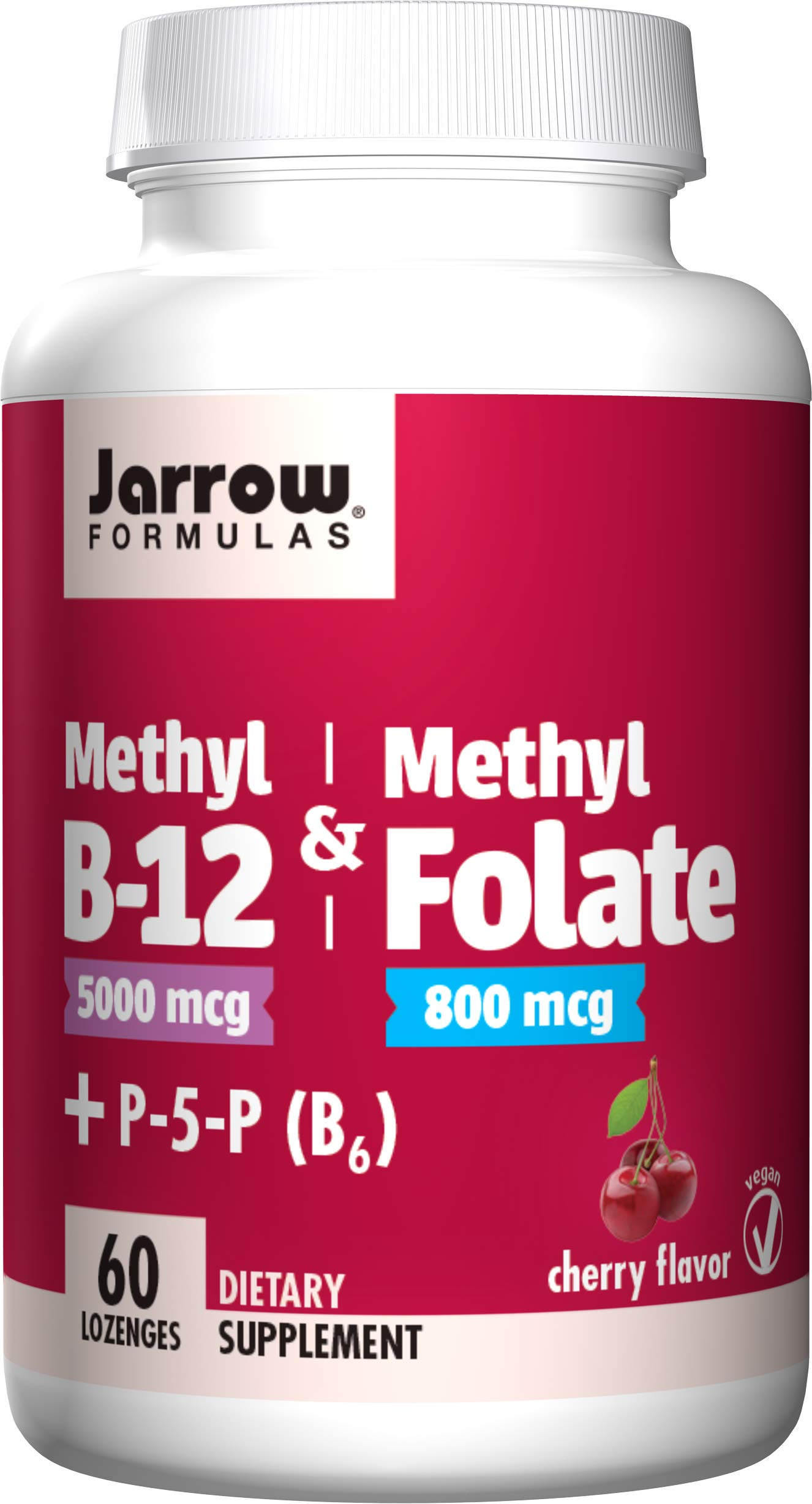 Jarrow Formulas Methyl B-12 & Methylfolate + P5P (B6), Supports Brain Cells and Nerve Tissues, Cherry Lozenges 60 Count