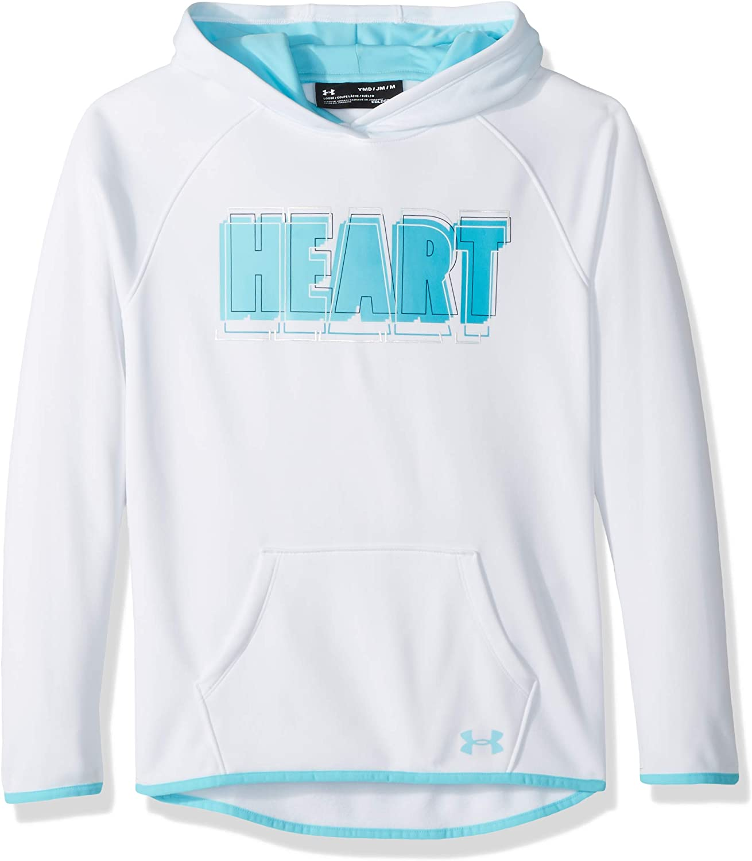 Under Armour Girls Armourfleece Hoody Heart Verbiage: Clothing