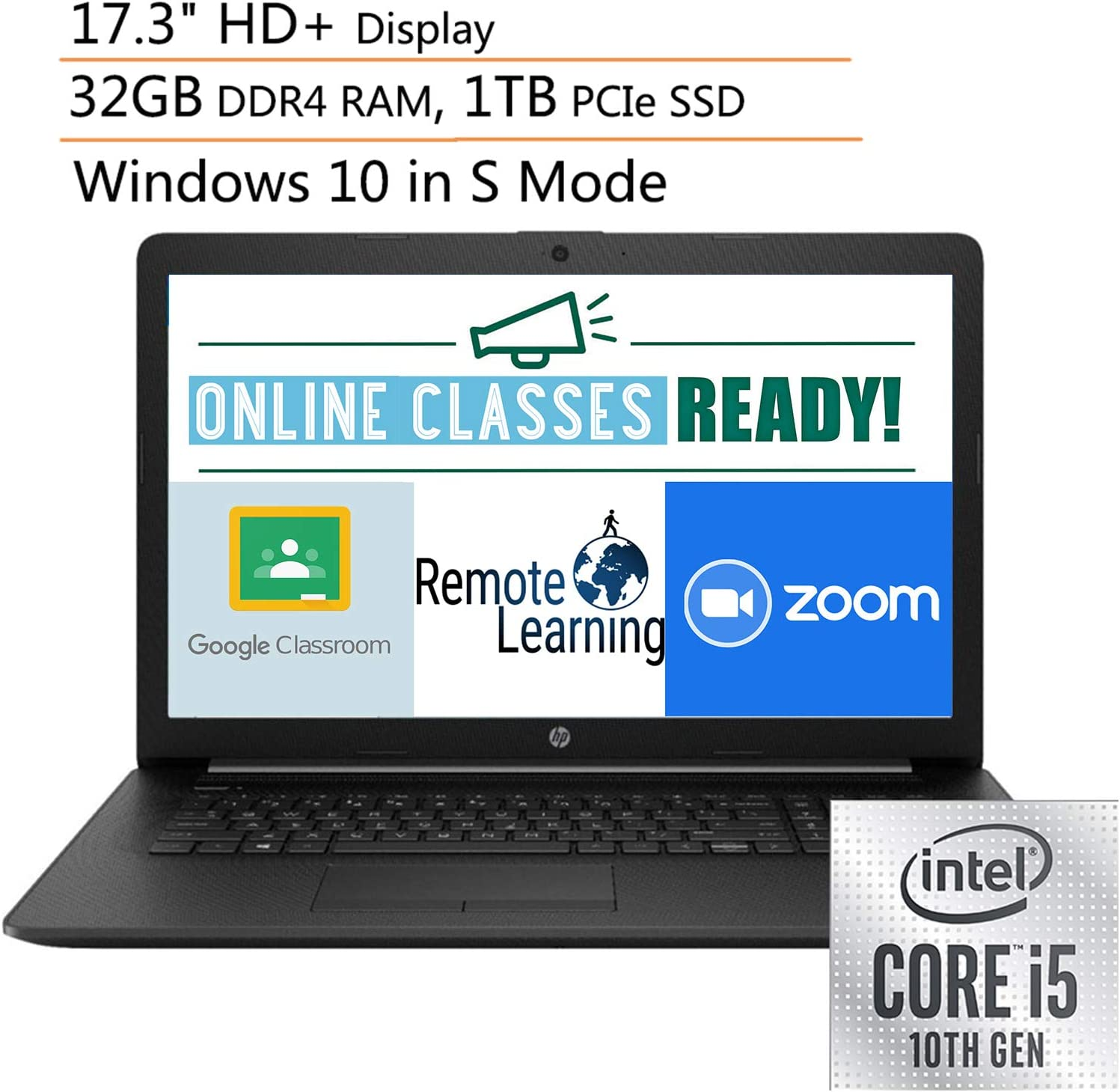 "2020 HP 17 17.3"" HD+ Laptop Computer, 10th Gen Intel Quad-Core i5 1035G1 Up to 3.4GHz (Beats i7-7500u), 32GB DDR4 RAM, 1TB PCIe SSD, DVDRW, Webcam, Windows 10, Ipuzzle Mouse Pad, Online Class Ready"