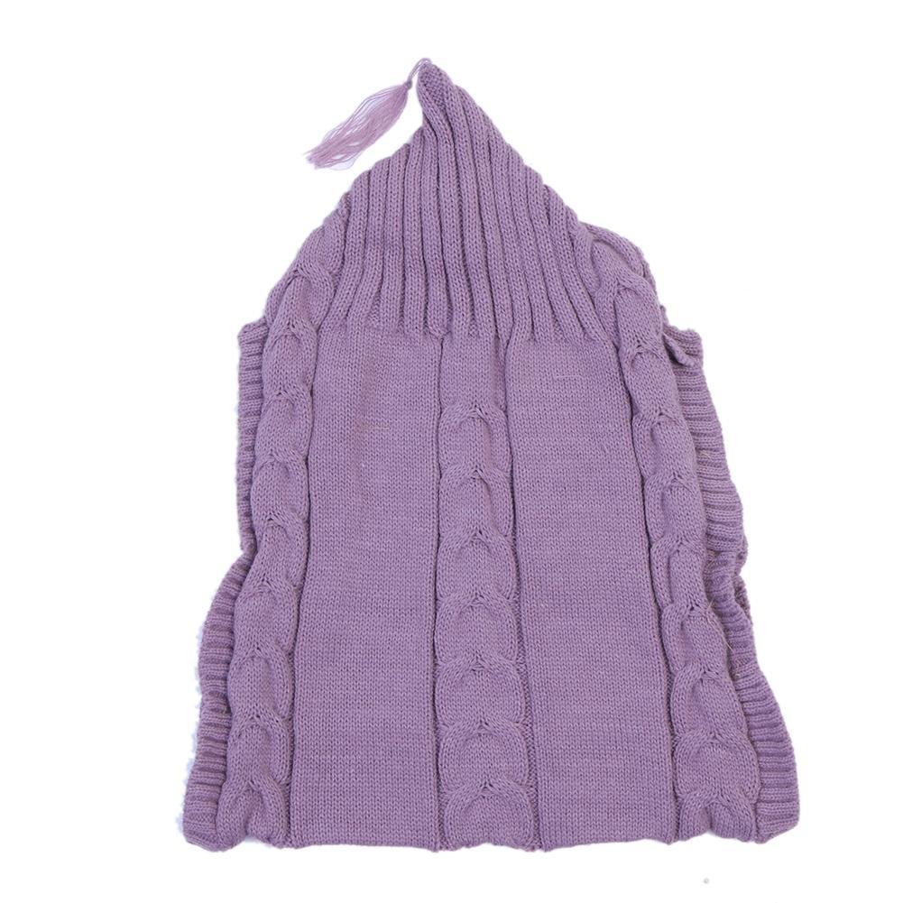Everpert Wood Button Tassel Cap Sweater Infants Wrap Swaddle Blanket (Pink)