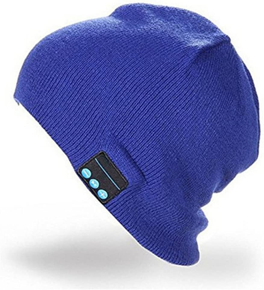 CALIONLTD Bluetooth hat HD Stereo 4.2 Wireless Beanie Headset Music Knit Bluetooth Headphone Speaker Hat Speakerphone Cap, Rechargeable USB Built-in Mic-Blue