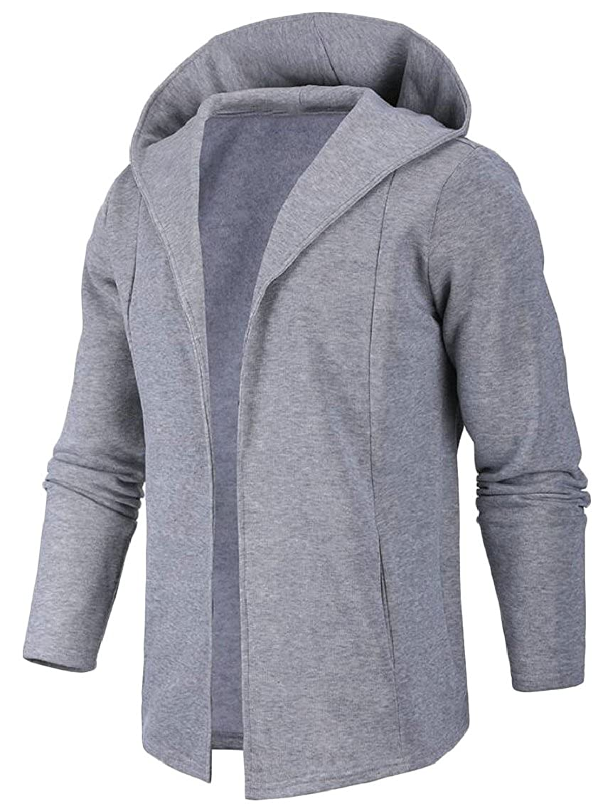 Jaycargogo Mens Long Sleeve Draped Open Front Longline Hooded Cardigan
