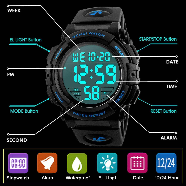 Farsler Reloj digital deportivo para niños, 50 m, resistente al agua, LED, reloj despertador, reloj de pulsera luminoso para niños y niñas: Amazon.es: ...