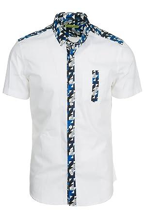 Versace Jeans Chemise à Manches Courtes Homme Blanc EU 48 (UK 38) B1GRA606  RUP206 4f042801606