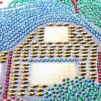 Gankmachine Paisaje de la casa Rhinestone del Diamante de la Pintura de DIY Cristal Bordado de Punto de Cruz Sala Decorativa del Cuadro: Amazon.es: Hogar